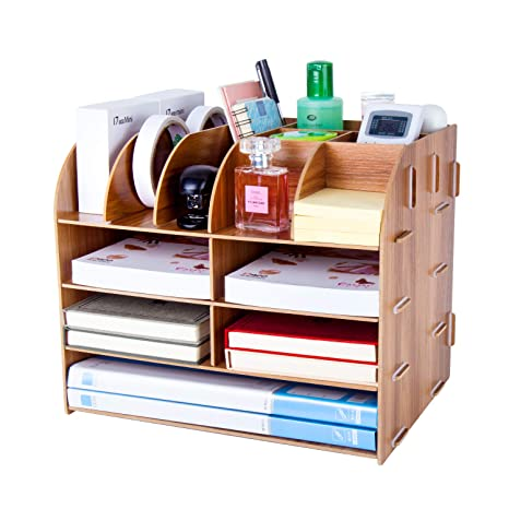 Lovely 2-grid A4 Wooden Leather Office Desktop File Book Magazine Stand Rack Holder Table Document Filing Box Organizer Brown Office & School Supplies Desk Accessories & Organizer
