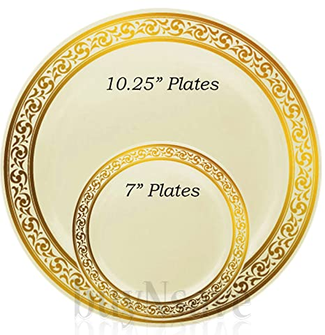 buyNsave Cream with Gold Heavyweight Plastic Elegant Disposable Plates Wedding Party Elegant Dinnerware Decor  sc 1 st  Amazon.com & Amazon.com: buyNsave Cream with Gold Heavyweight Plastic Elegant ...