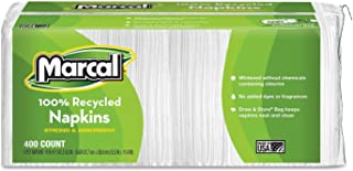 """product image for Marcal 6506PK Luncheon Napkin, Single-Ply, 12-1/2""""x11-1/4"""", 400/PK, White"""