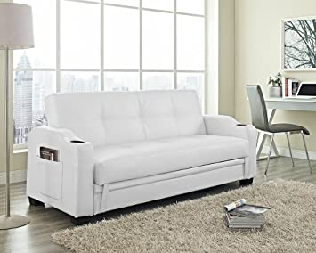 Storage Sofa Bed With Cupholders Magzine Sleeves And Underneath In Black Brown