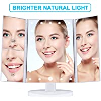 Ausale Makeup 21 Led Vanity Mirror with Lights, 1x 2X 3X Magnification, Touch Screen Switch, 180 Degree Rotation, Dual Power Supply, Portable Trifold Makeup Mirror, White