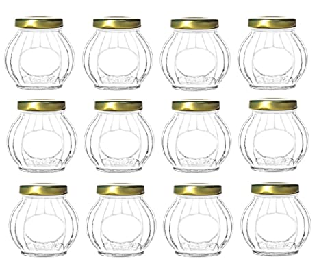 83eaba79cdc1 Nakpunar 12 pcs 10 oz Round Faceted Glass Jars with Gold Lids (10 oz, Gold)