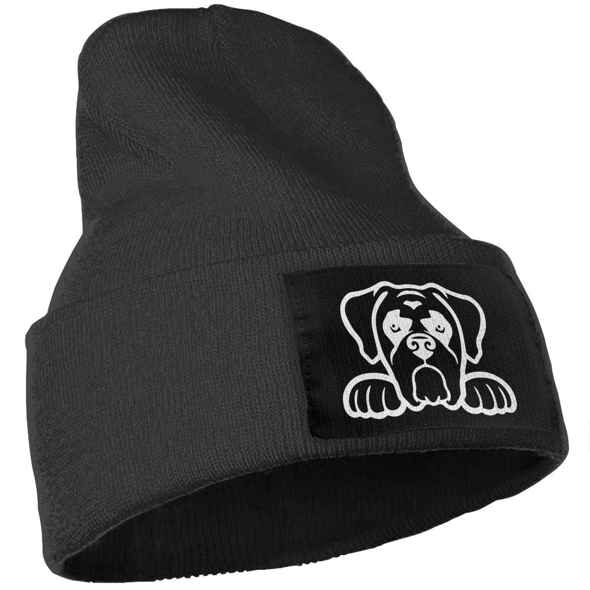 COLLJL-8 Men /& Women Boxer Dog Peeking Outdoor Warm Knit Beanies Hat Soft Winter Skull Caps