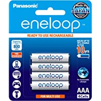 Panasonic Battery Eneloop BK-4MCCE/4BN 800mAh AAA Rechargable Battery - Pack of 4 (White)