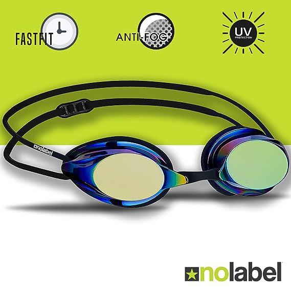 76d4ed81828 NO LABEL Black Swimming Goggles - Competition Swim Goggles With Anti Fog UV  Lenses - Mens Swimming Goggles or Womens Swimming Goggles - 4 Colours .
