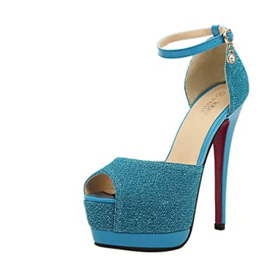7d56e492a3 Amazon.com   Gaorui Women Ankle Strap Peep Toe Platform Shoe Buckle Pump  High Heel Prom Club Sandals   Pumps