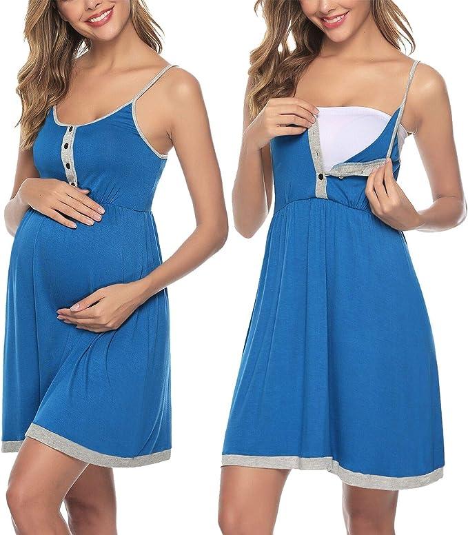 Sykooria Vestido de Mujer, Vestido de Lactancia camisón de algodón, Ropa de Dormir Suave con Botones para Embarazadas y Lactancia: Amazon.es: Ropa y accesorios