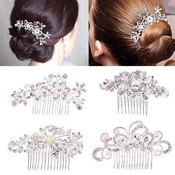 Silver Diamante Vintage Inspired Hair Comb Bridal Wedding Prom Rhinestone 4AR