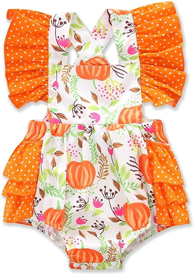 Black Thanks, S for 3-6 Months BabyPreg Baby Girlss 1st Halloween Pumpkin Costume,Baby Thanksgiving Dress Set