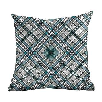 Amazon.com: Fundas de almohada a cuadros, color morado y ...