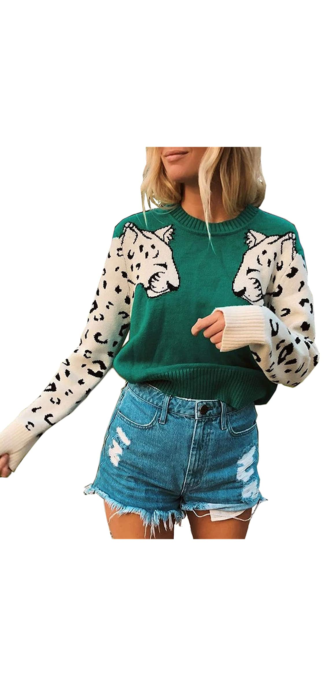 Women's Sweaters Casual Leopard Printed Patchwork Long