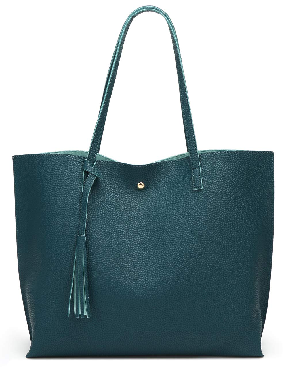 Women'S Soft Leather Tote Shoulder Bag From Dreubea, Big Capacity Tassel Handbag Dark Teal, LARGE by Dreubea