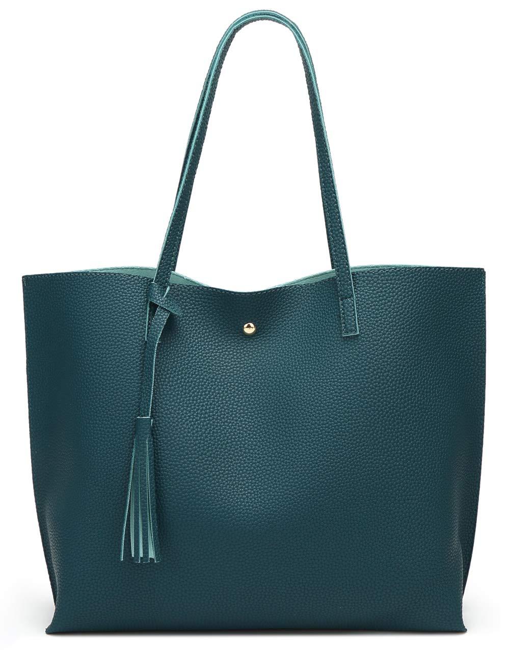 Women's Soft Leather Tote Shoulder Bag from Dreubea, Big Capacity Tassel Handbag Dark Teal