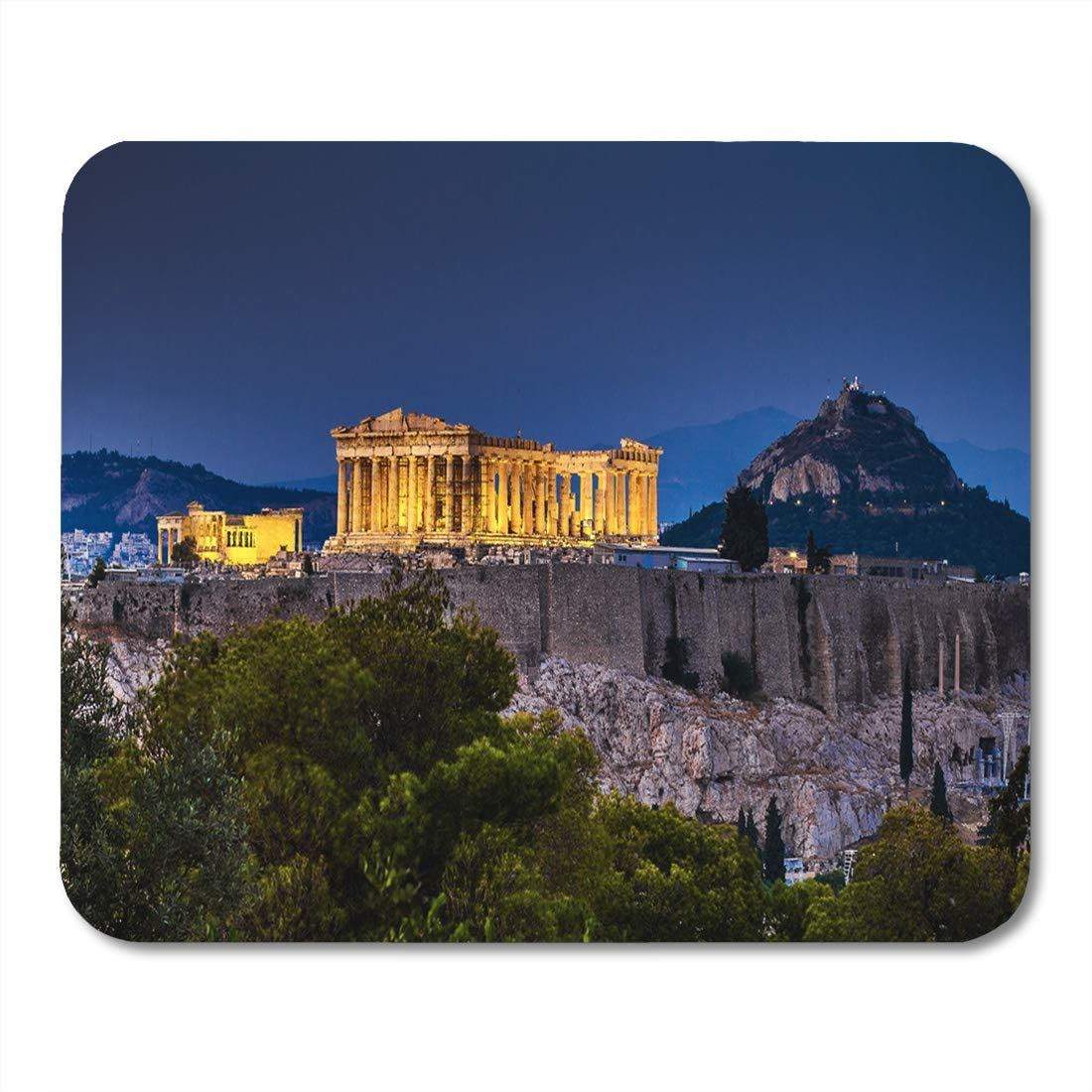 Semtomn Mouse Pad Blue Night Parthenon of Athens at Dusk Time Greece Mousepad 9.8 x 7.9 for Notebooks,Desktop Computers Mouse Mats Office Supplies