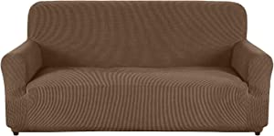 AUJOY Couch Cover Stretch 1-Piece Sofa Slipcover for 3 Cushion Couch Jacquard Spandex Fabric Furniture Protector with Anti-Slip Foams (Sofa, Light Coffee)