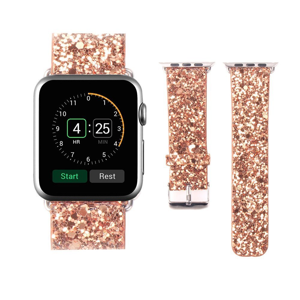 Replacement Band for Apple Watch, Crazy Panda Luxury 3D Bling Leather Strap Wrist Band for Apple Watch 42mm - Gold