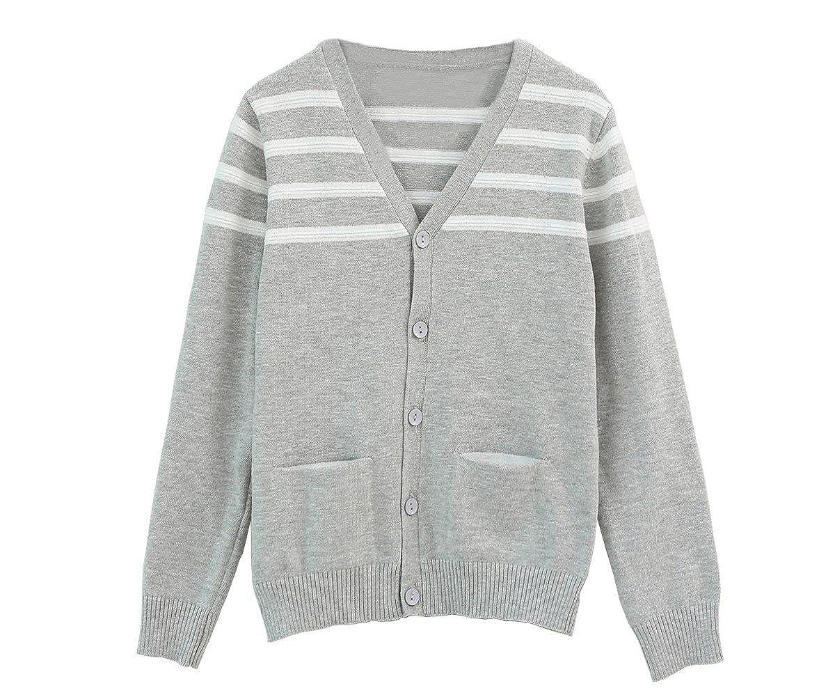 ZHUANNIAN Baby Toddler Boys Cardigans V-Neck Button Sweaters Stripe Knit Coat Outwear 2 Pockets