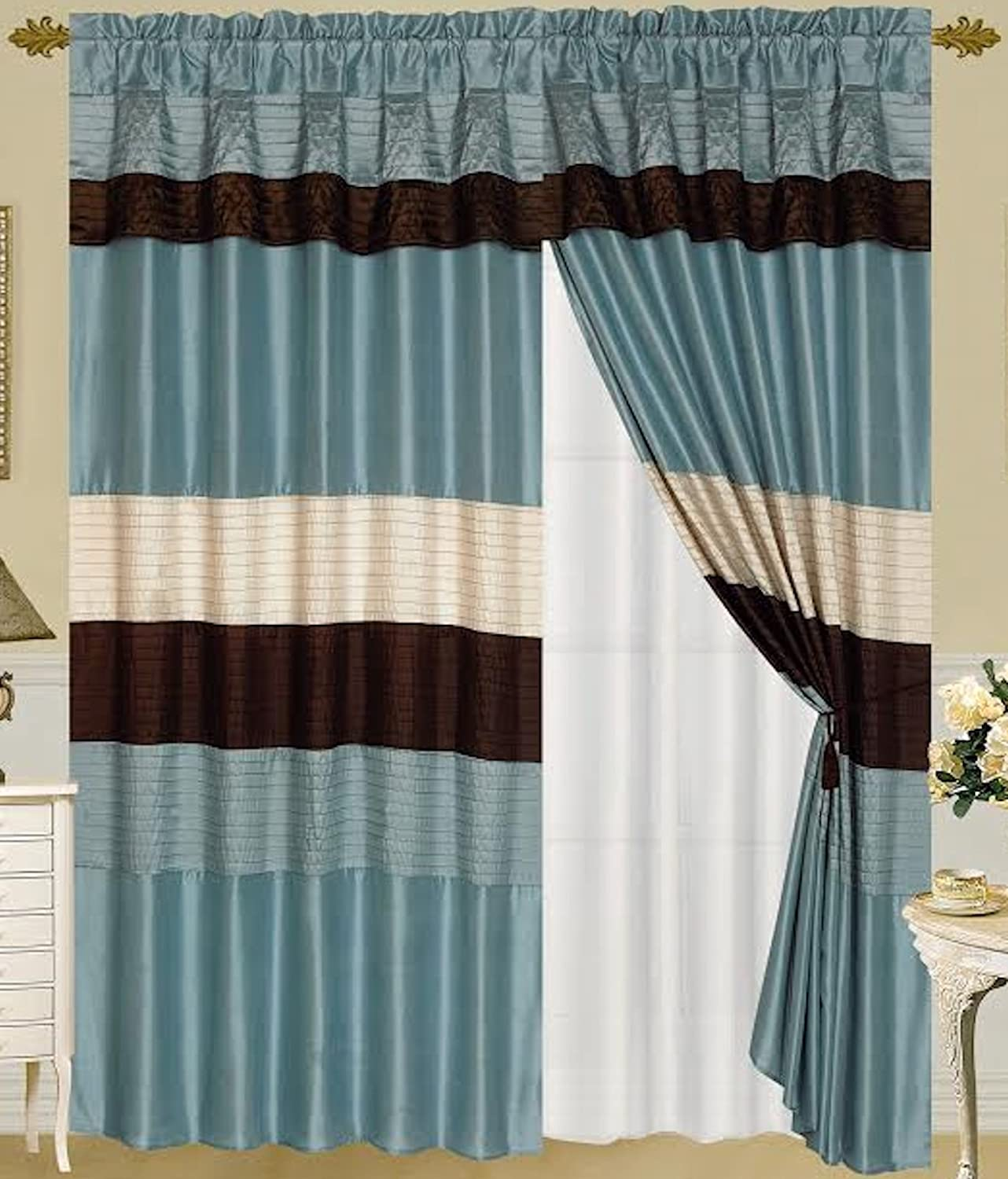 Venetian Blue, Brown, and Beige Faux Silk Window Curtain / Drape Set with Attached Valance and Sheer Lining
