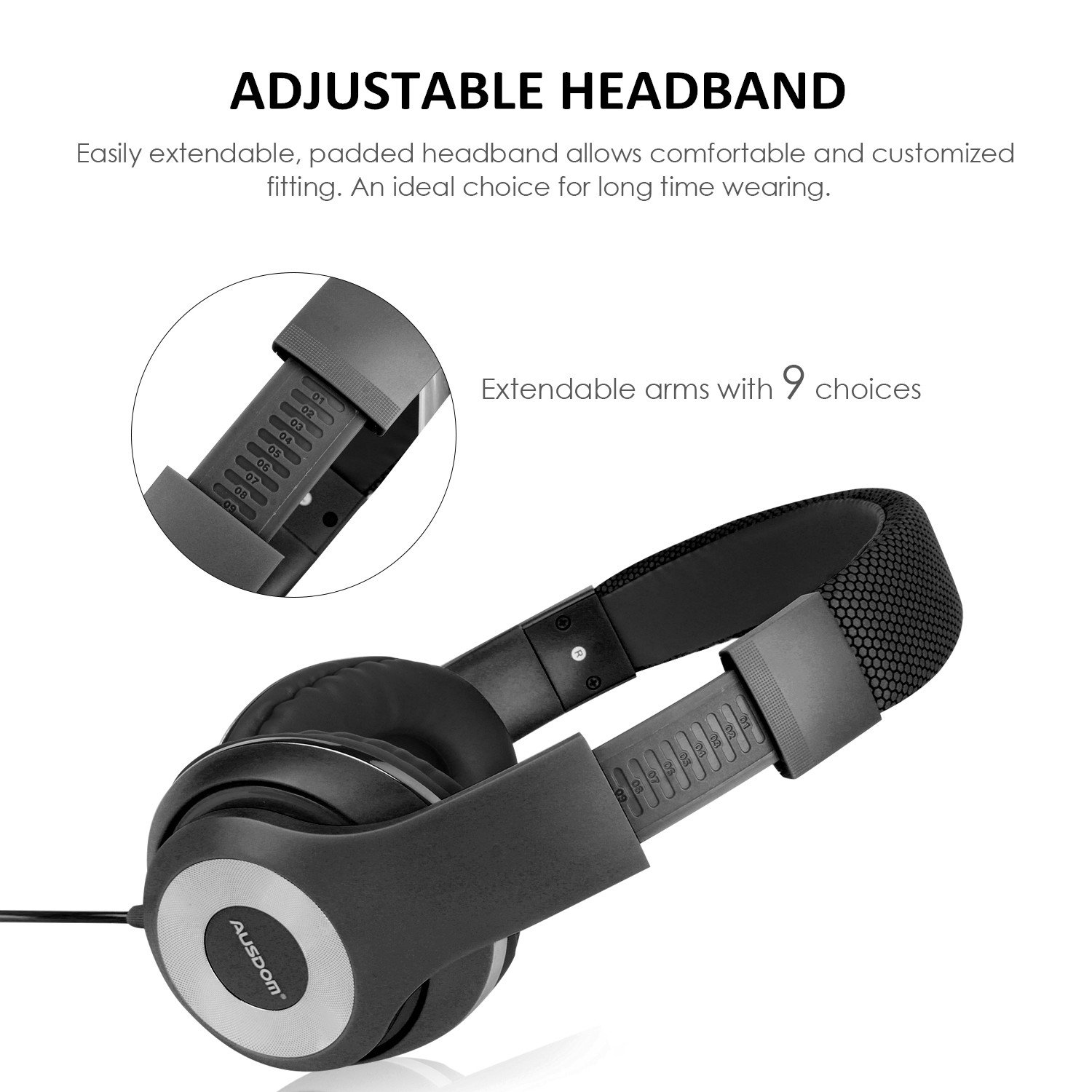 Ausdom Lightweight Over-Ear Wired HiFi Stereo Headphones with Built-in Mic Comfortable Leather Earphones- Black