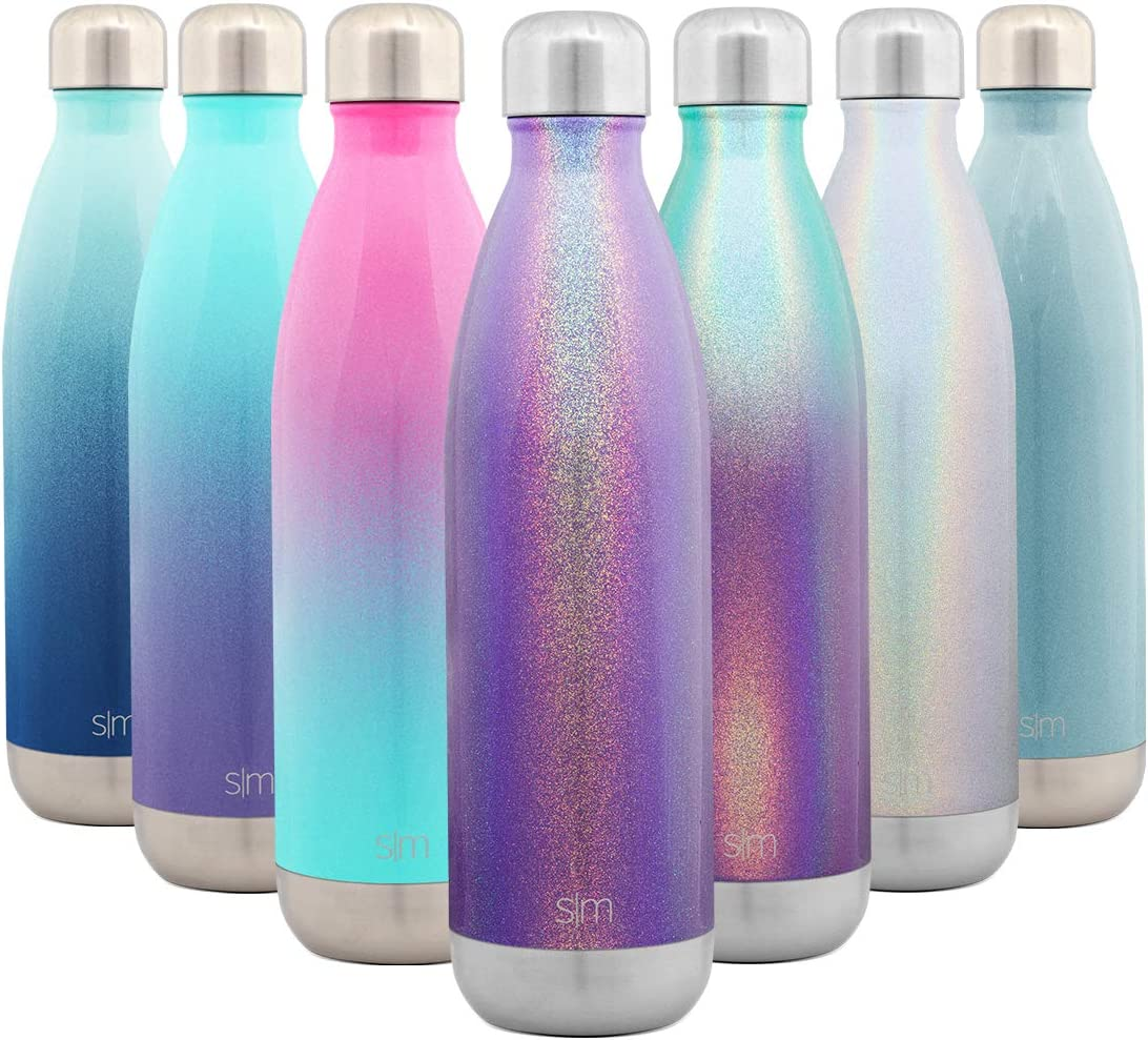 Simple Modern 25 Ounce Wave Water Bottle - Stainless Steel Double Wall Vacuum Insulated Metal Reusable - Leakproof Shimmering: Kunzite