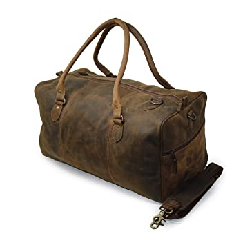 e0ce4aa912 20 quot  Leather Travel Duffel Bag for Men Large Gym Sports Weekend Duffle  Bag Handmade Vintage