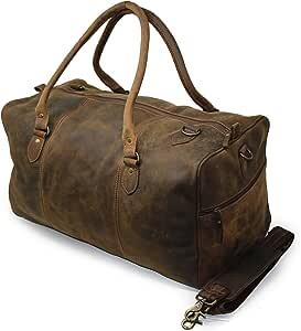 "Jaald 20"" Buffalo Leather Duffle Bag Travel Carry-on Luggage Overnight Gym Weekender Bag"