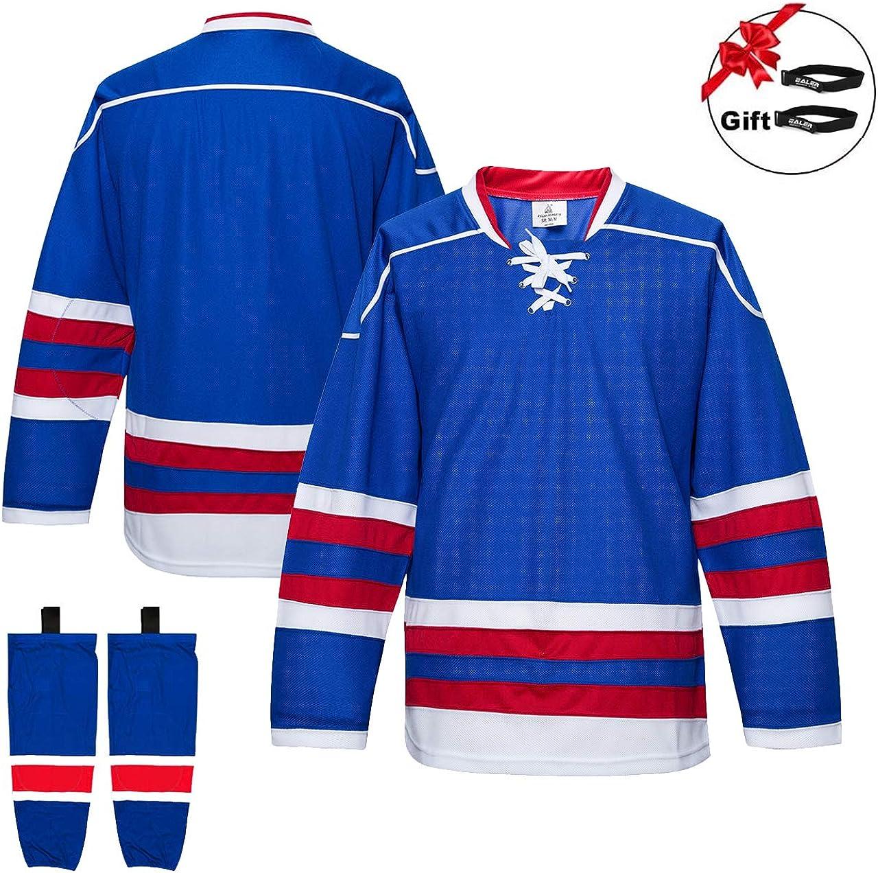 Senior to Junior EALER Mens /& Boys Team Ice Hockey Practice Jersey with Socks 2 Jerseys with 2 Pairs Socks
