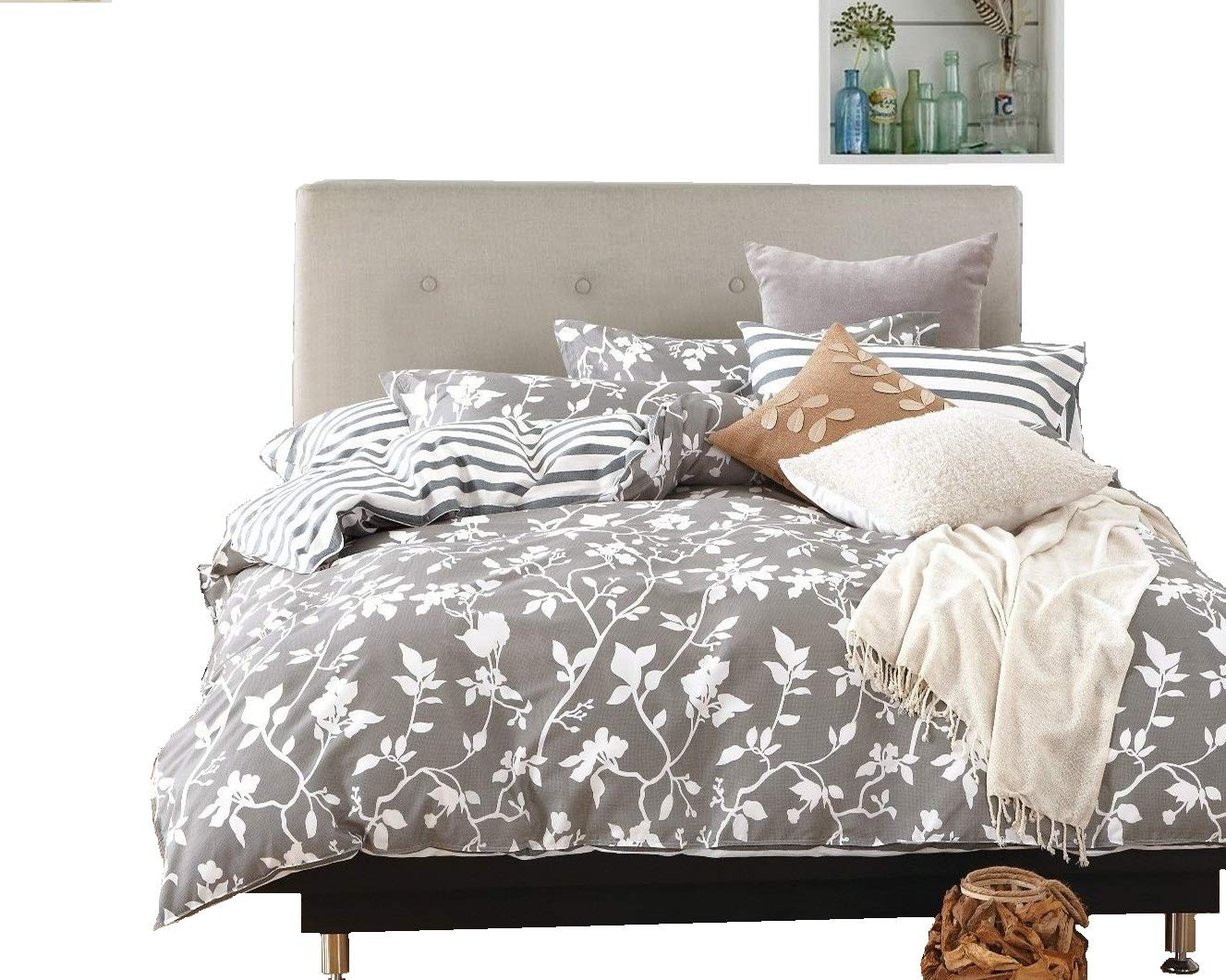 Swanson Beddings Leafy Vines 3-Piece 100% Cotton Bedding Set: Duvet Cover and Two Pillow Shams (King)