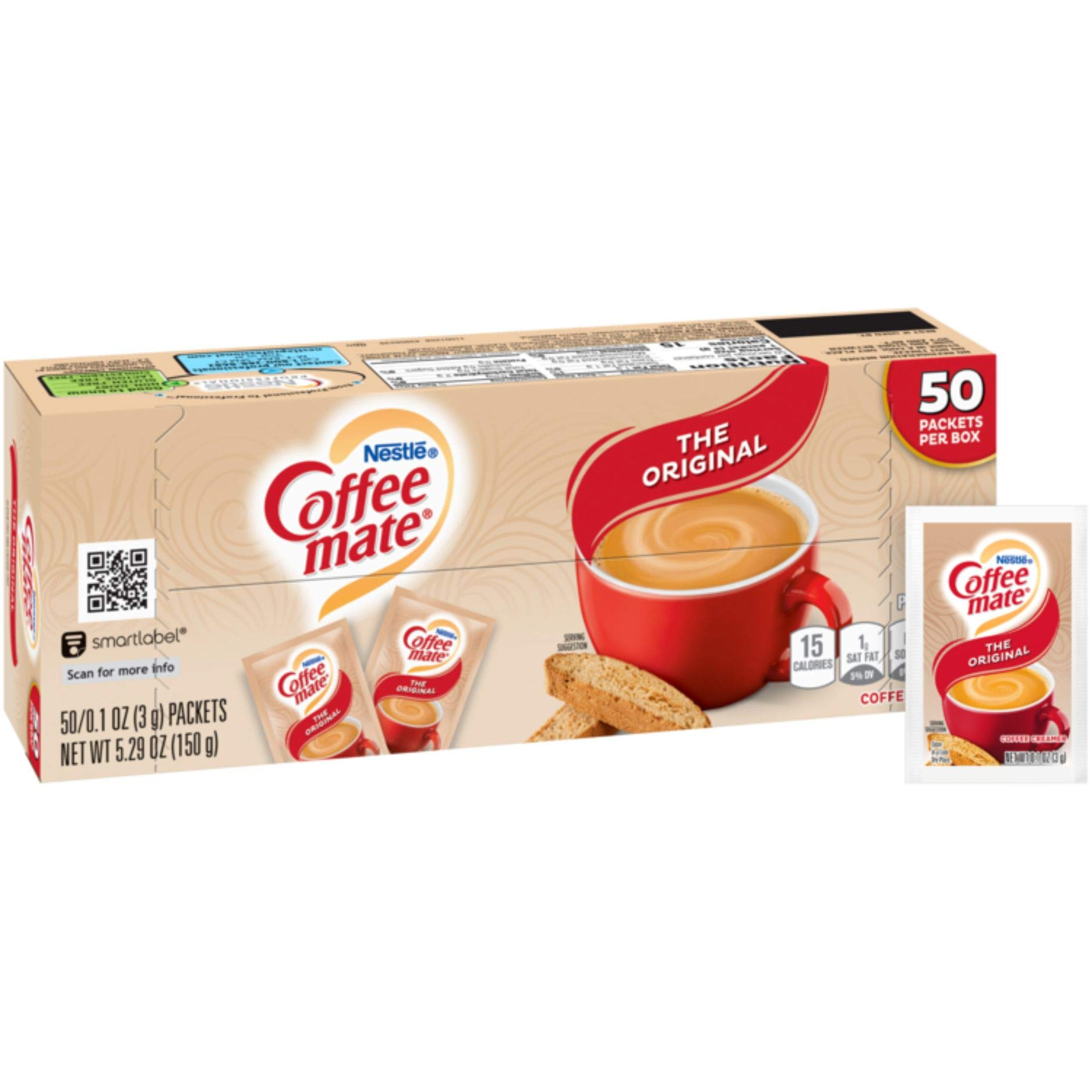 Nestle Coffee mate Coffee Creamer, Original, Powder Creamer, 3g Packets, Box of 50 Packets