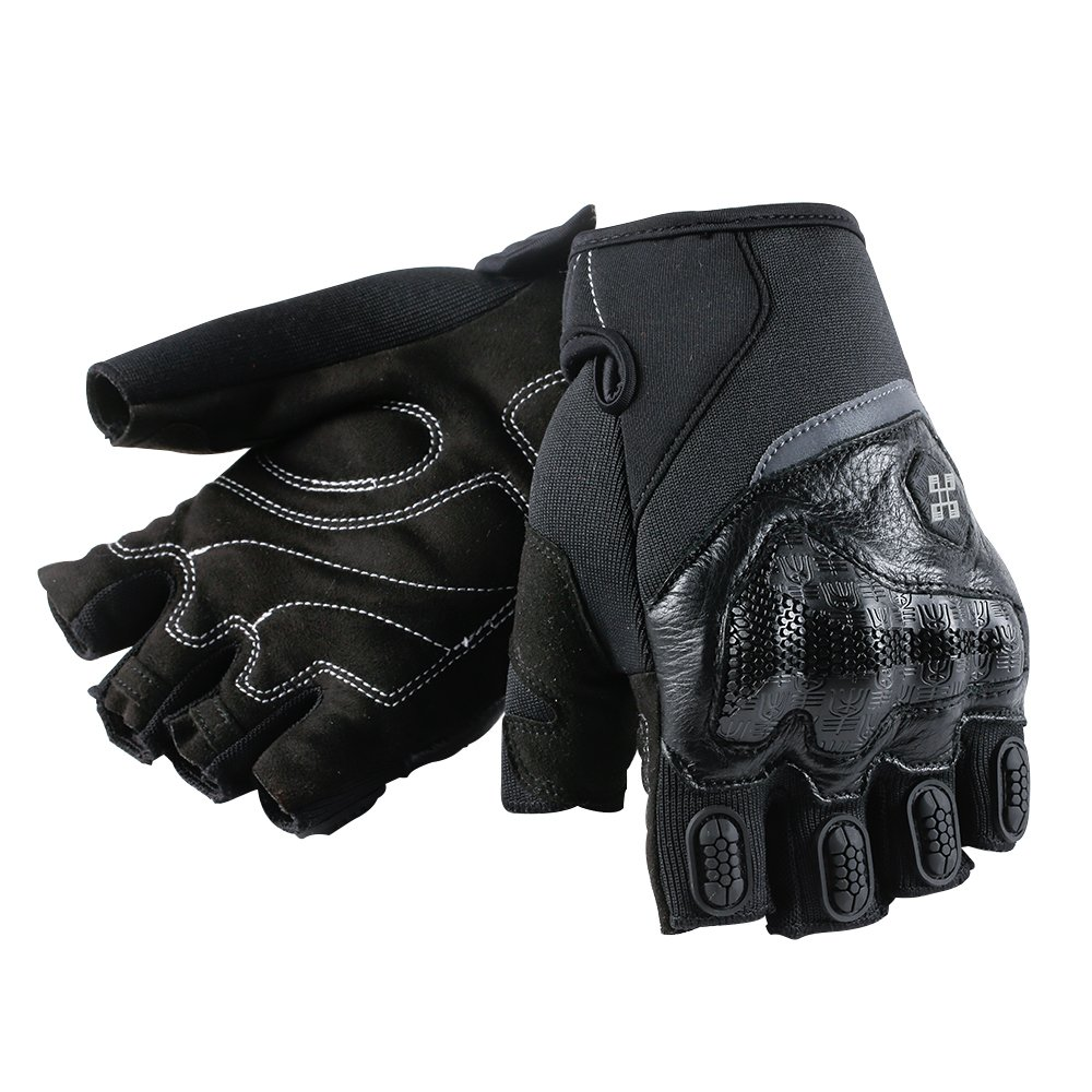 ILM Motorcycle Gloves Touchscreen Fits For Dirt Bike ATV Summer Men Women (Black Half Finger, M)