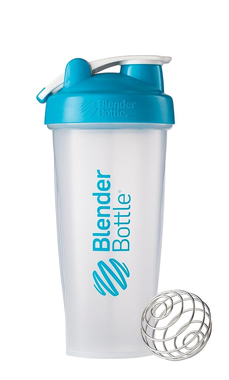 BlenderBottle Classic Loop Top Shaker Bottle, Clear/Aqua, 28-Ounce Loop Top