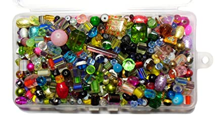 colored glass beads for jewelry craft 1 pound mixed lampwork round cube bulk in storage container - Colored Glass