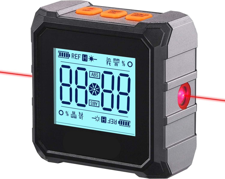 Inclinómetro digital, TACKLIFE MDP03 Transportador Medidor de Ángulos, 4x90°, Precisión ±0.2°, Gran pantalla LCD, Luz de fondo, Base Magnética, HOLD Datos, carga Tipo-C Protección contra polvo y agua