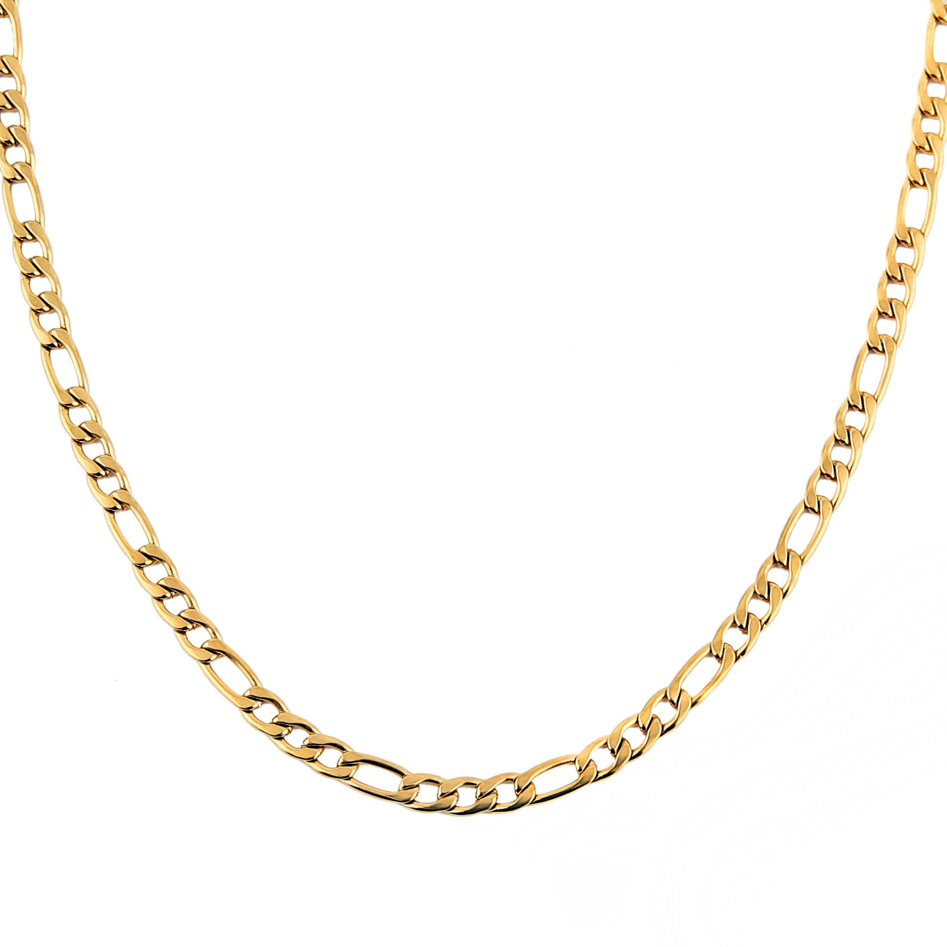 HZMAN Men Women 24k Real Gold Plated Figaro Chain 5mm Stainless Steel Necklace 2 Colors Gold Silve (gold-plated-stainless-steel, 24)