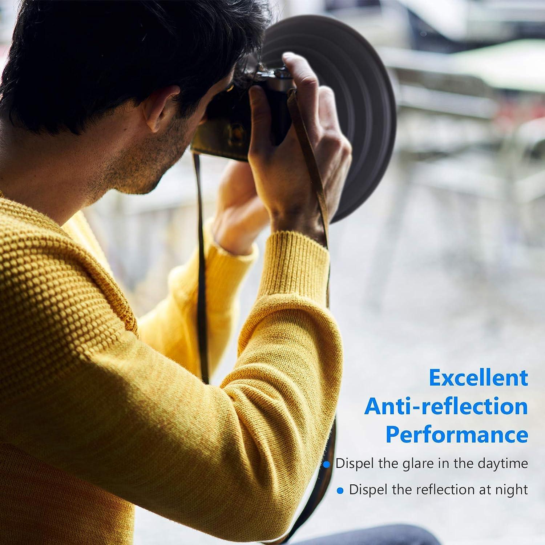 Neewer Paraluce Antiriflesso per Fotocamera Reversibile Pieghevole con Attacco Filettato per Fotocamere Digitali SOLO Paraluce Adatto a Obiettivi con Filettature 50-70mm