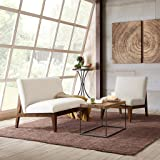 Madison Park Kari Slant Back Wood Settee White W44 x D34 x H34