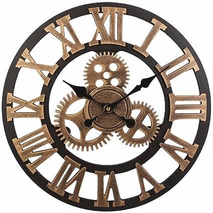"""Shhyy 23"""" Reloj De Pared De Numeración Romana Antiguo Hecho A Mano De Madera Vintage"""