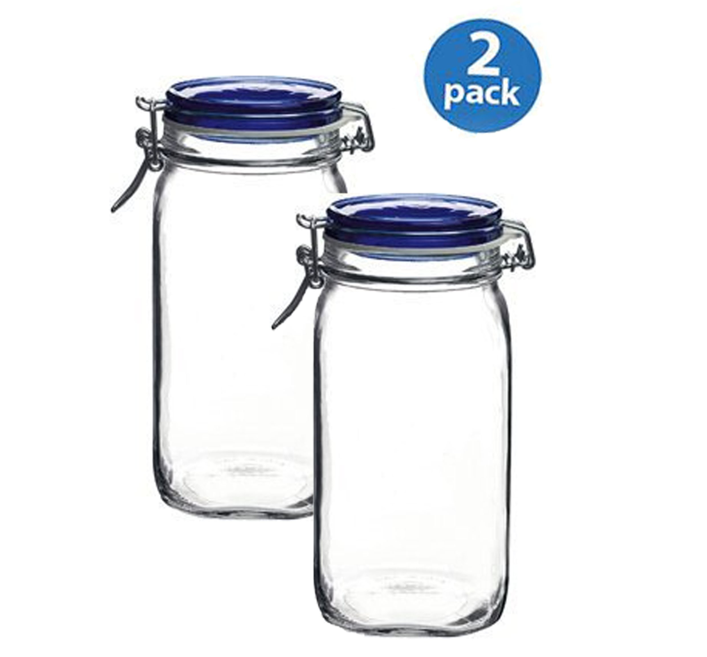 Bormioli Rocco Fido Square Jar with Blue Lid, 50-3/4-Ounce, 2-pack