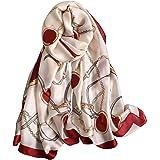 NUWEERIR Womens 100% Large Mulberry Silk Scarf Long Satin Scarf Fashion Designer Scarf Lightweight Wraps