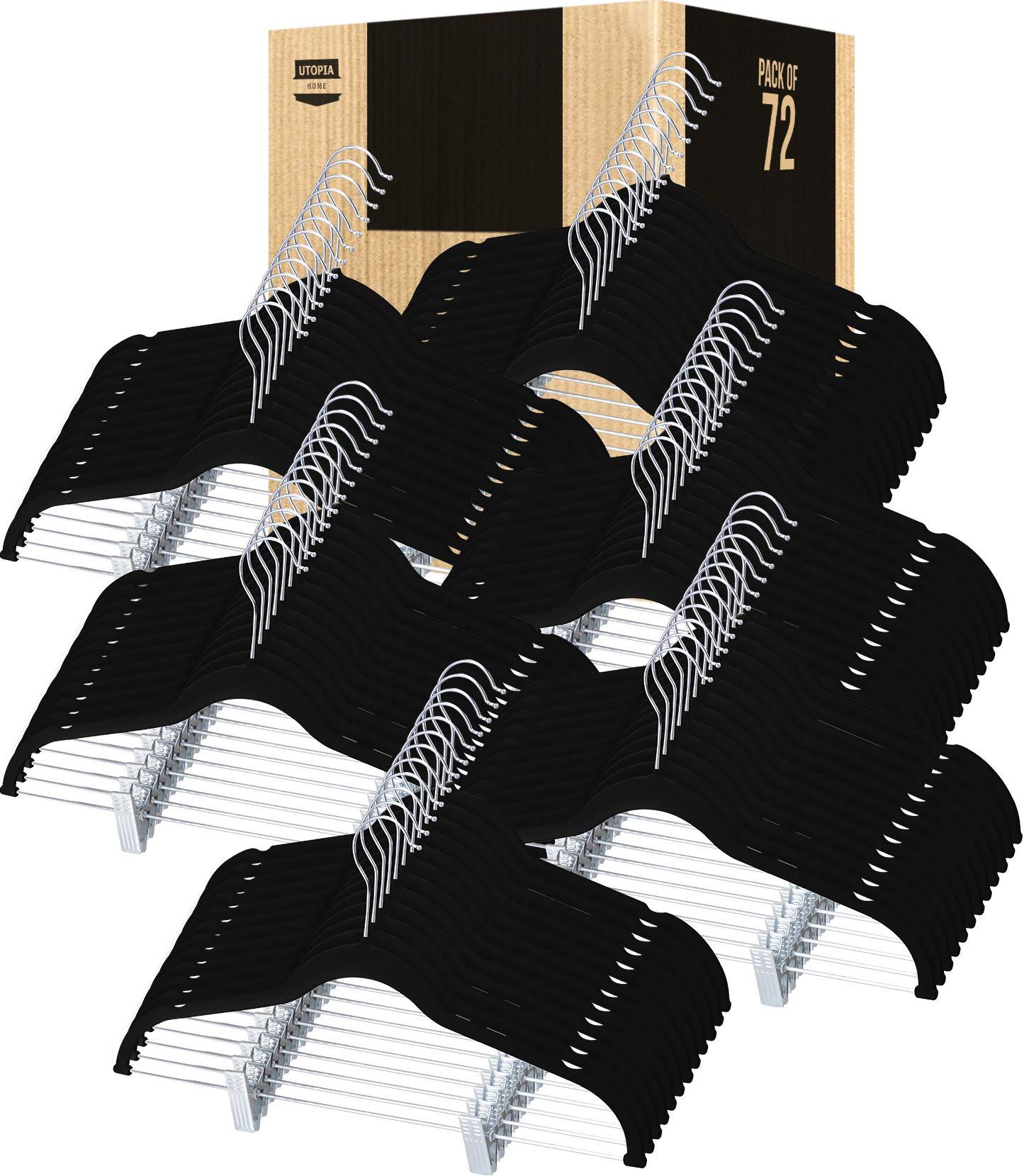 Utopia Home Velvet Skirt Hangers - Non Slip Velvet Clothes Hangers with Notches for Pants and Coats - (Black, Pack of 72)