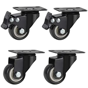 Swivel Rubber Caster Wheels with Safety Dual Locking, PU Plate Swivel Casters Set of 4 with 360 Degree Top Plate, Heavy Duty Caster Wheels with Brake for Furniture and Workbench (1.5 inch)