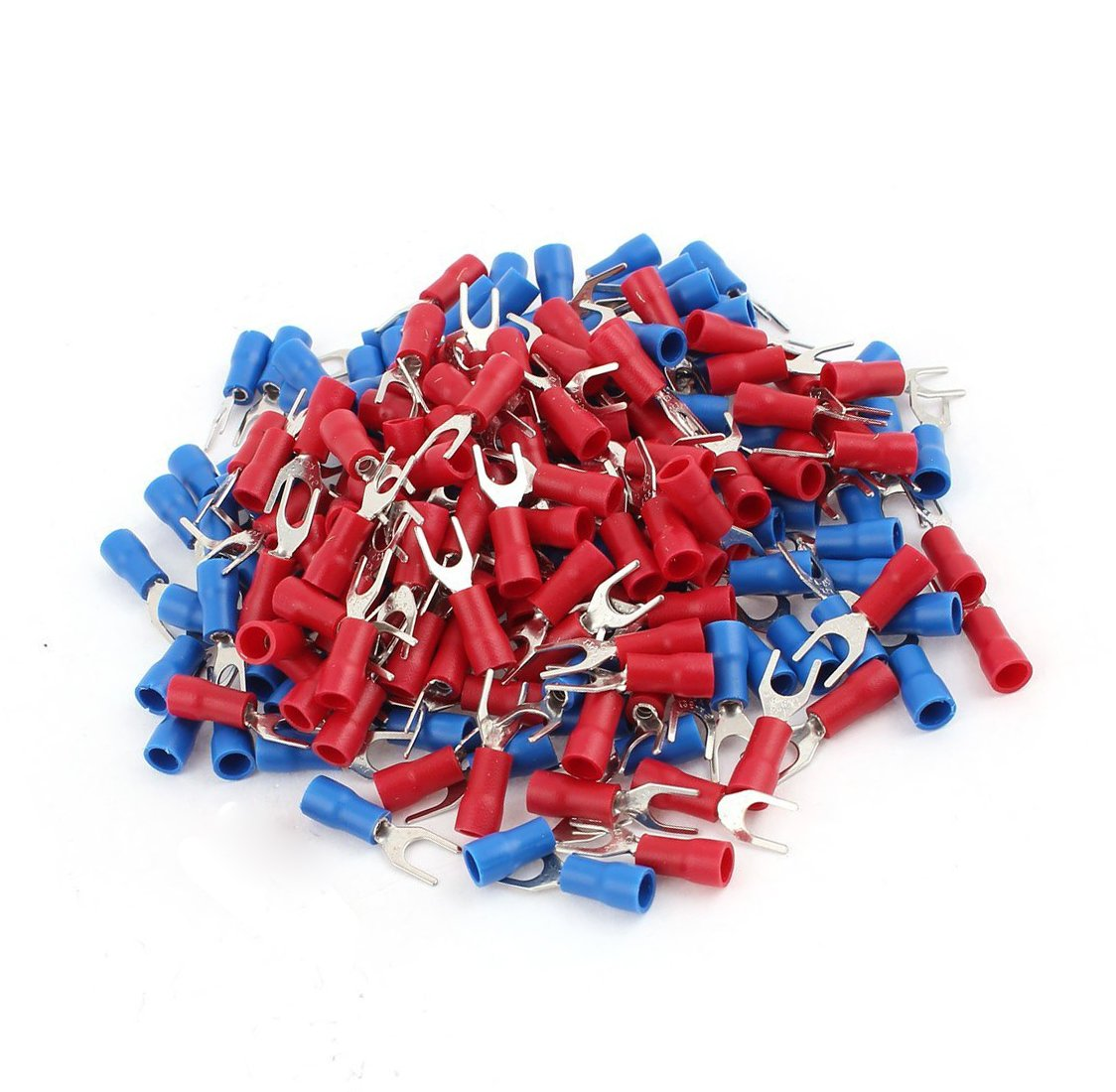 YXQ 240Pcs 22-16AWG Gauge Fork Spade Insulated Terminal Fit for #8 Bolt Red//Blue Quick Splice Crimp Connectors Wire Cable Assortment Kit