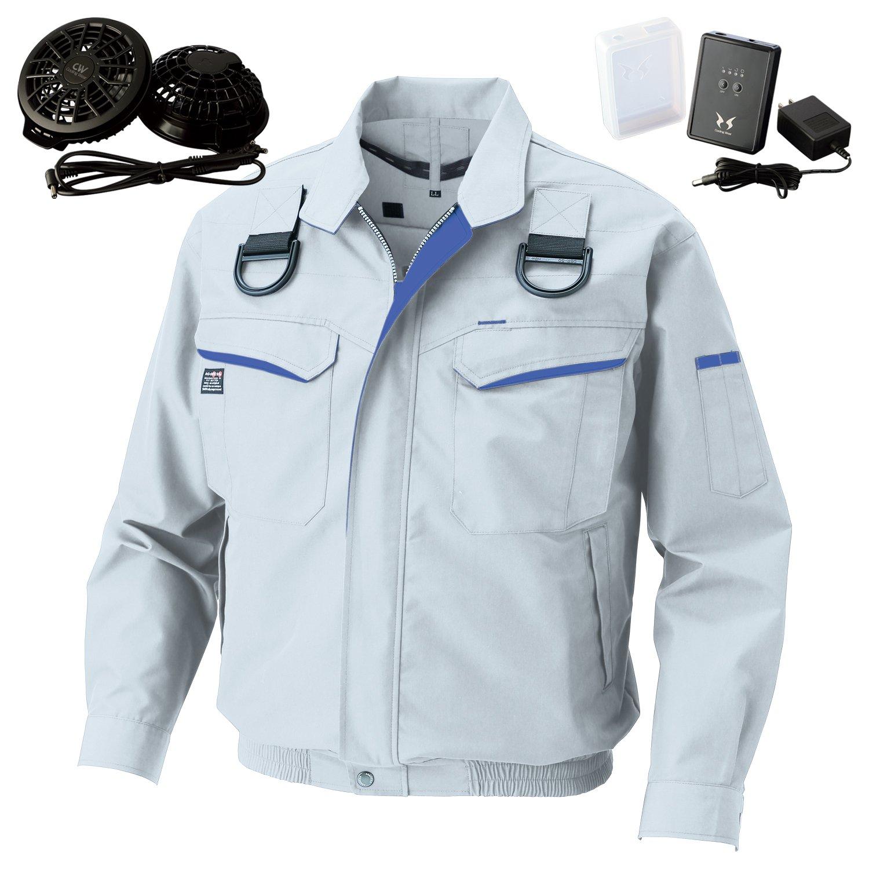 空調風神服サンエスフルハーネス用長袖ブルゾン(KU90470F)+フラットファンレギュラーファンセット(RD9820R)+リチウムイオンバッテリー(RD9870J) セット販売 B07DR6N3YG XL|6シルバー 6シルバー XL