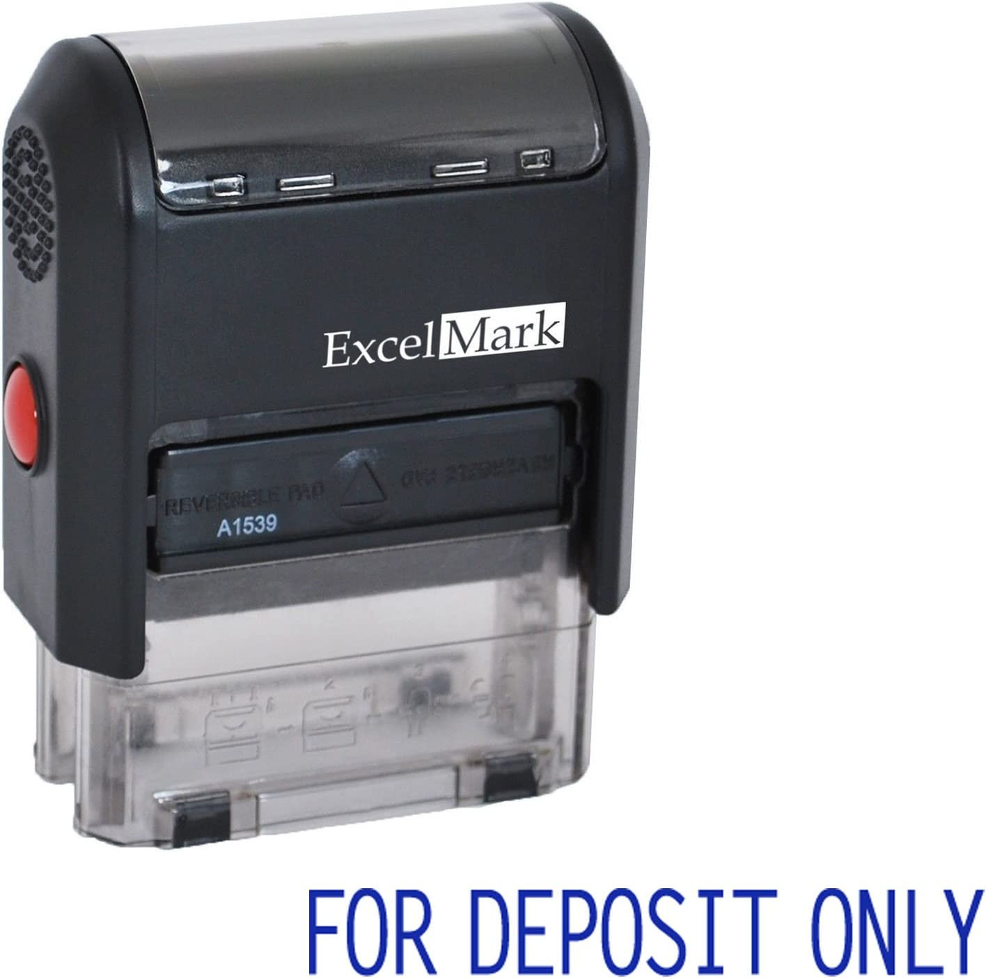 for Deposit ONLY - ExcelMark A1539 Self Inking Rubber Bank Stamp - Blue Ink
