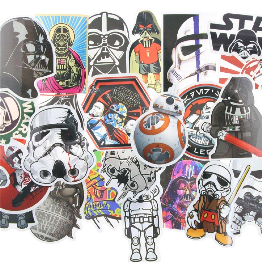 25 divertidas pegatinas de la famosa guerra de las galaxias pel/ícula pegatinas equipo frigor/ífico bicicleta.