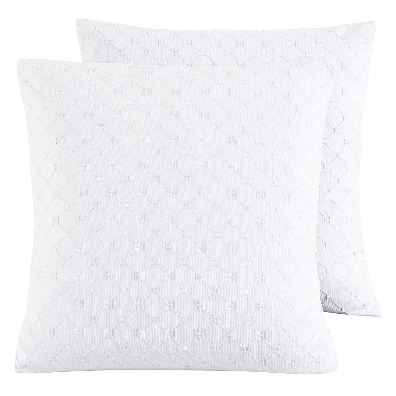 PHF Cotton Matelasse Weave Euro Sham Cover for Winter Pack of 2 26'' x 26'' White Home Bedding Decoration No Filling by PHF