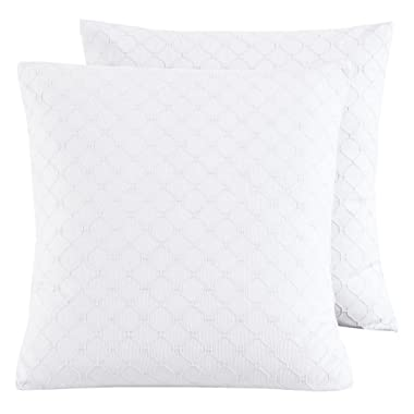 PHF Cotton Matelasse Weave Euro Sham Cover Pack of 2 26  x 26  White Mother's Day