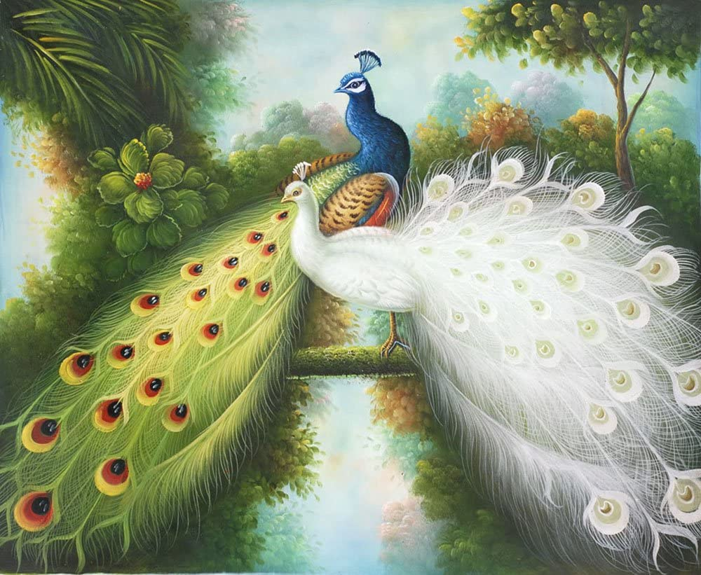 High quality handpainted peacock oil painting reproduction for valentine/'s day gift  home decor wall art