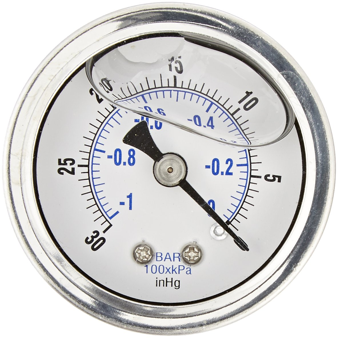 "PIC Gauge 202L-158A 1.5"" Dial, 30""/0 hg Vacuum psi Range, 1/8"" Male NPT Connection Size, Center Back Mount Glycerine Filled Pressure Gauge with a Stainless Steel Case, Brass Internals, Stainless Steel Bezel, and Polycarbonate Lens"
