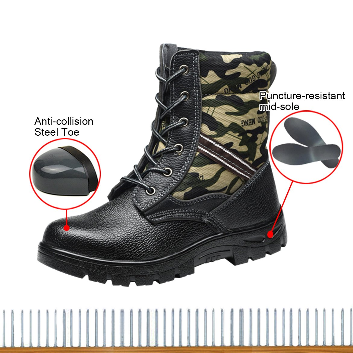 729371e4756 Bota de seguridad para hombres óptima Bota de trabajo con punta de acero  Bota de trabajo con punta compuesta Suede Camo Black